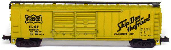 N Scale - Aurora Postage Stamp - 4868 - Boxcar, 50 Foot, Steel, Double Door - Frisco - 152705
