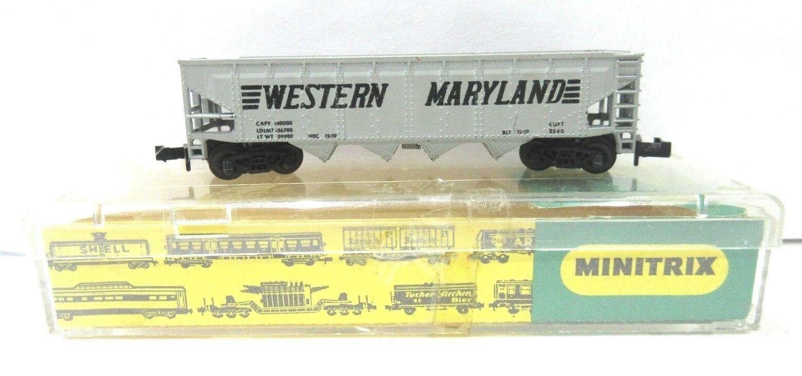 N Scale - Minitrix - 3277 - Open Hopper, 4-Bay Steel - Western Maryland