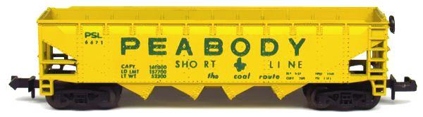 N Scale - Aurora Postage Stamp - 4886-445 - Open Hopper, 4-Bay Steel - Peabody Short Line - 6671