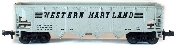 N Scale - Aurora Postage Stamp - 4886-340 - Open Hopper, 4-Bay Steel - Western Maryland