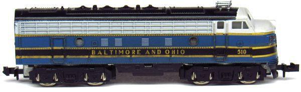 N Scale - Aurora Postage Stamp - 4850 - Locomotive, Diesel, EMD F9 - Baltimore & Ohio - 510