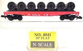 N Scale - Model Power - 4041 - Flatcar, 45 Foot, Fishbelly - Great Northern - 41536