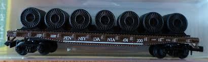 N Scale - Model Power - 4042 - Flatcar, 45 Foot, Fishbelly - Pennsylvania - 474200