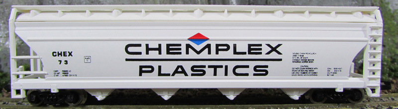 N Scale - Model Power - 3472 - Covered Hopper, 4-Bay, ACF Centerflow - Chemplex Plastics - 73