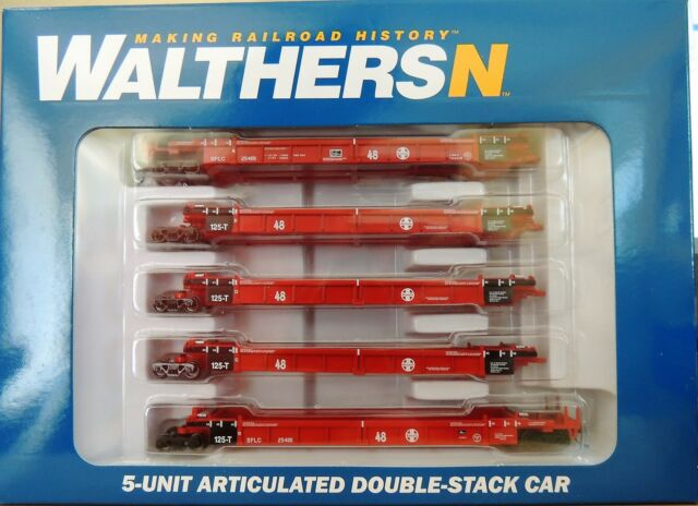 N Scale - Walthers - 929-8104 - Container Car, Articulated, Thrall Lo-Pac - Santa Fe - 254181