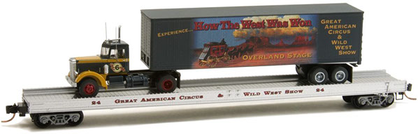 N Scale - Micro-Trains - NSE MTL 16-107 - Flatcar, 70 Foot, Straight Side - Great American Circus - 24