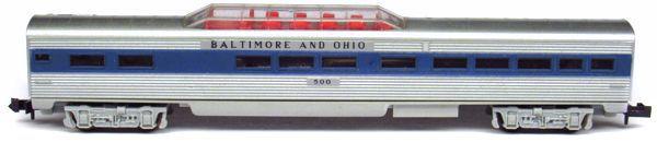 N Scale - Aurora Postage Stamp - 4892-240 - Passenger Car, Lightweight, Pullman Dome - Baltimore & Ohio - 500