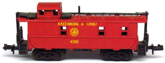 N Scale - Aurora Postage Stamp - 4887-240 - Caboose, Cupola, Steel - Baltimore & Ohio - 4068