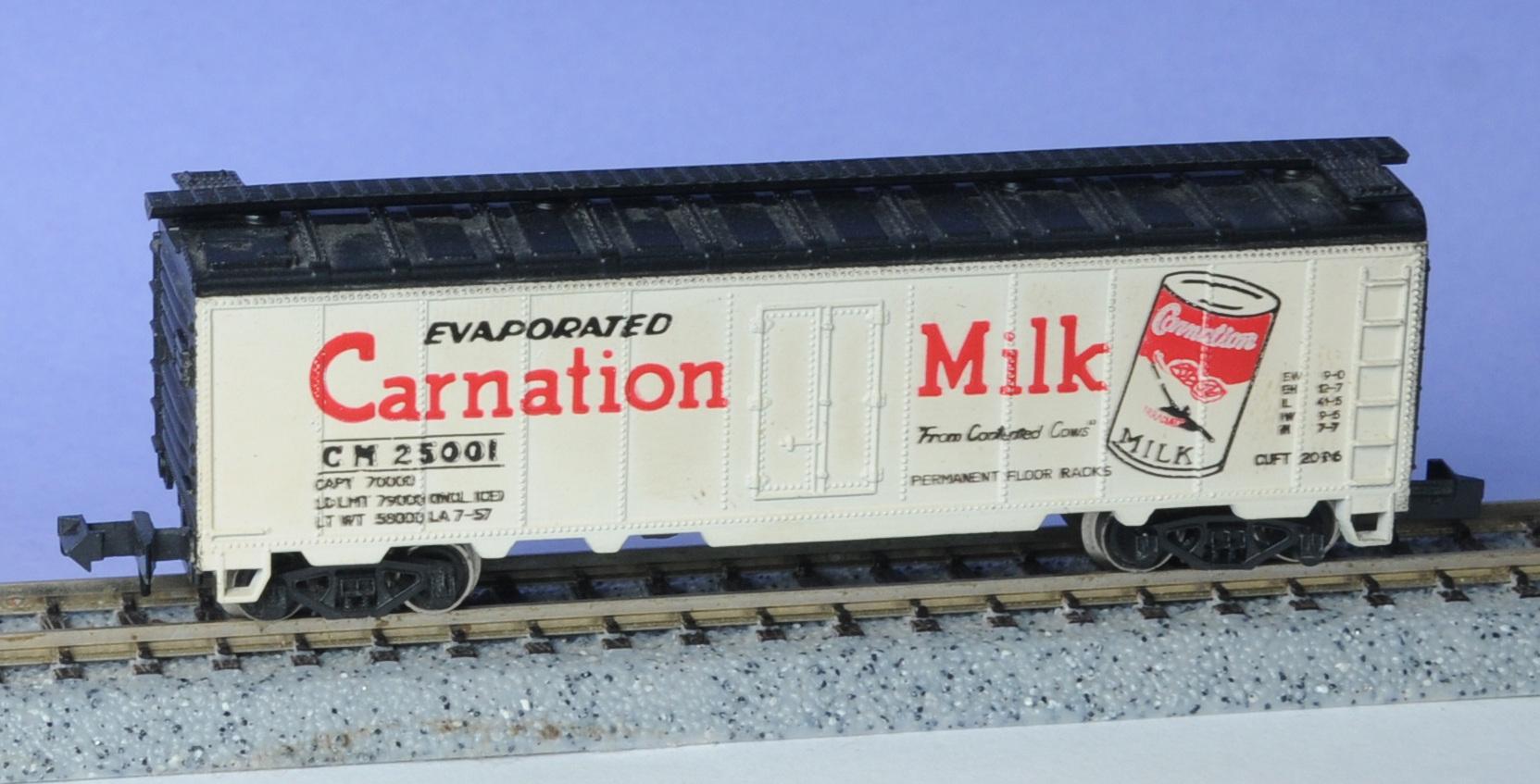 N Scale - MRC - 8010 - Reefer, 40 Foot, Steel - Carnation Milk - 25001