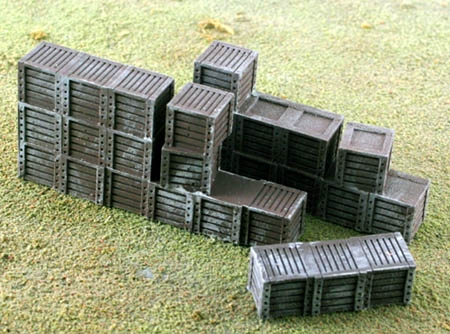 N Scale - Model Tech Studios - D1086P - Boxes - Painted/Unlettered