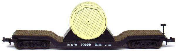 N Scale - Aurora Postage Stamp - 4865-350 - Flatcar, Heavy Duty, Depressed Center - Norfolk & Western - 70999