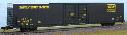 N Scale - Bluford Shops - 86302 - Boxcar, 85 or 86 Foot, Auto Parts - Family Lines - 2 Different