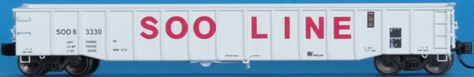 N Scale - Trainworx - 25216-01 - Gondola, 52 Foot, Thrall - SOO Line - 63266