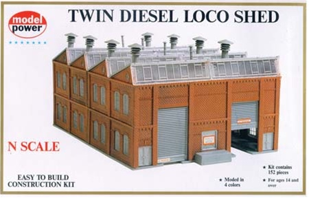 N Scale - Model Power - 1550 - Twin Diesel Loco Shed - Railroad Structures