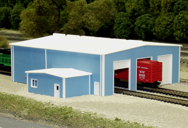 N Scale - Pikestuff - 541-8014 - Prefabricated Metal Building - Undecorated
