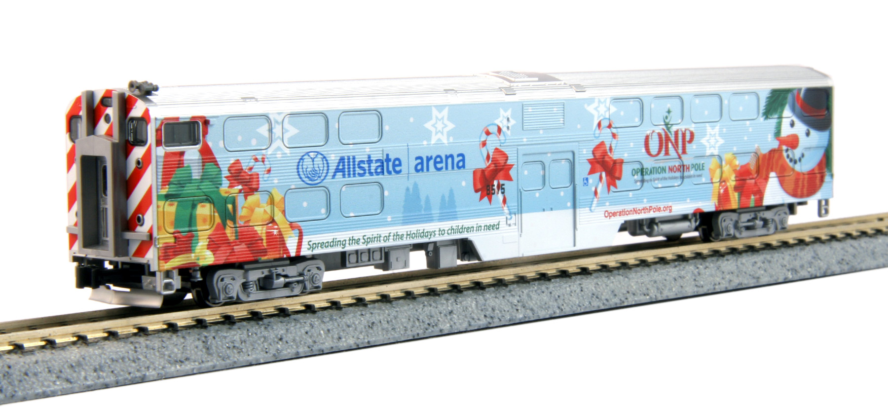 N Scale - Kato USA - 106-2016-D - Passenger Car, Commuter, Nippon Sharyo Gallery - Operation North Pole - Allstate Arena