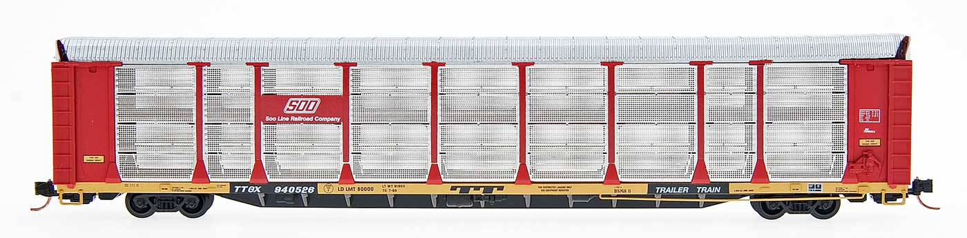 N Scale - Red Caboose - RM-19111-15 - Autorack, Enclosed, Bi-Level - SOO Line - 914013