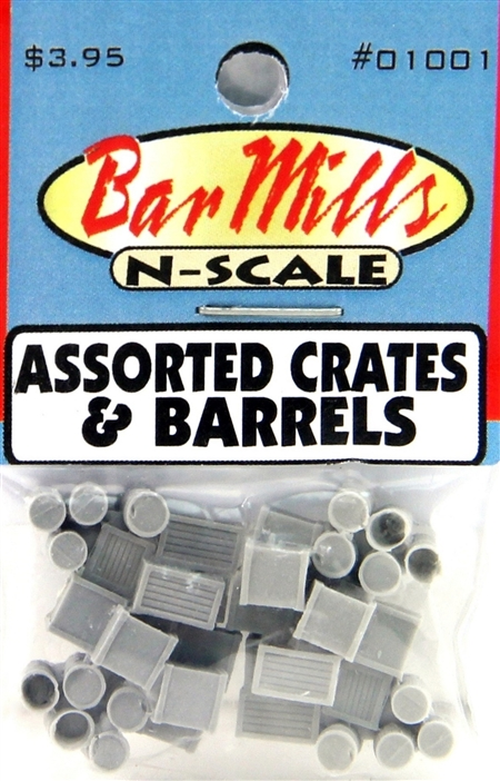 N Scale - Bar Mills - 01001 - Loads - Undecorated - Crates and Barrels