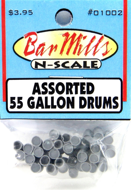 N Scale - Bar Mills - 01002 - Loads - Undecorated - 55 Gallon Drums