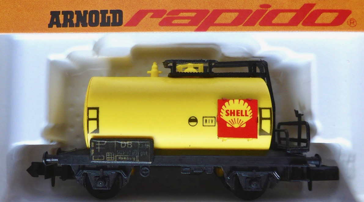 N Scale - Arnold - 0433 - Tank Car, No Dome, 2-Axle - Shell Oil - 505 110