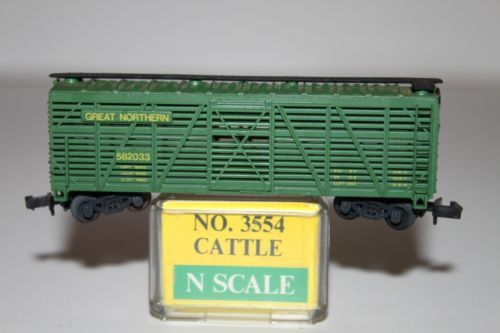 N Scale - Model Power - 3554 - Stock Car, 40 Foot, Wood - Great Northern - 582033