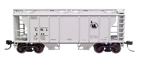 N Scale - Atlas - 31922 - Covered Hopper, 2-Bay, PS2 - Jersey Central - 846