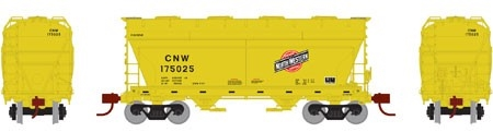 N Scale - Athearn - 12485 - Covered Hopper, 2-Bay, ACF Centerflow - Chicago & North Western - 175147