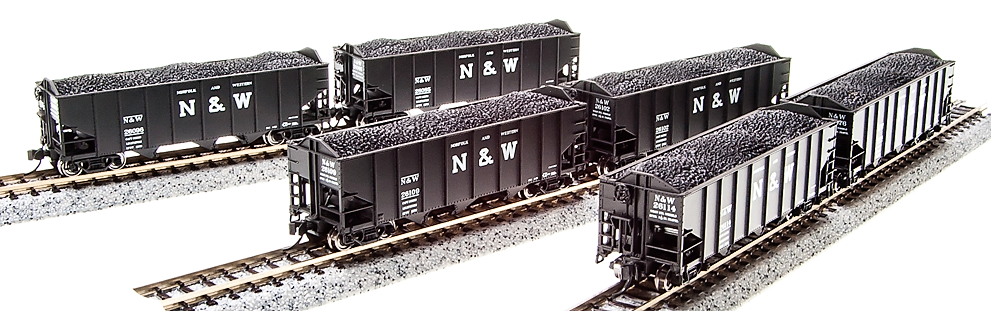 N Scale - Broadway Limited - 3646 - Open Hopper, 3-Bay, H2A - Norfolk & Western - Pack D