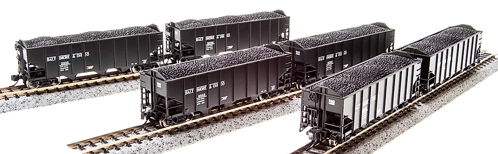 N Scale - Broadway Limited - 3650 - Open Hopper, 3-Bay, H2A - Baltimore & Ohio - Pack D