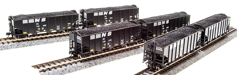 N Scale - Broadway Limited - 3653 - Open Hopper, 3-Bay, H2A - Norfolk Southern - Pack B