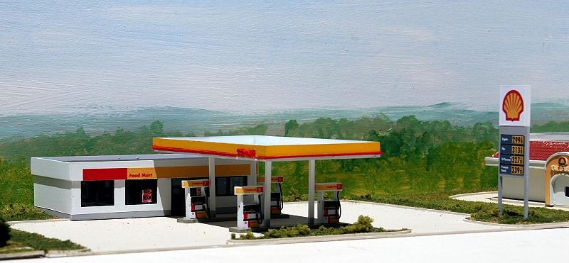 N Scale - Summit Customcuts - SH-002 - Shell Gas Station - Shell Oil