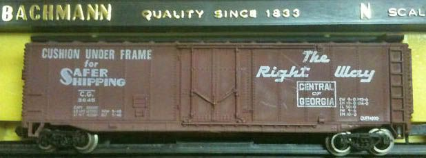 N Scale - Bachmann - 5442 - Boxcar, 50 Foot, Steel - Central of Georgia - 3645
