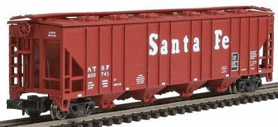 N Scale - Con-Cor - 0001-015031 - Covered Hopper, 4-Bay, Ribside - Santa Fe