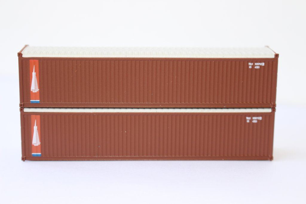 N Scale - Jacksonville Terminal - 402410 - Container, 40 Foot, Corrugated, Open Top - Transamerica Transportation
