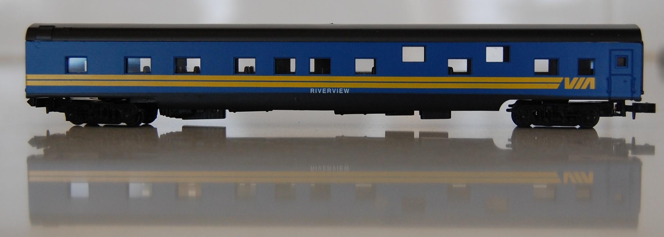 N Scale - Con-Cor - 0001-04012B - Passenger Car, Smoothside, 85 Foot Sleeper - Via Rail Canada - Riverview