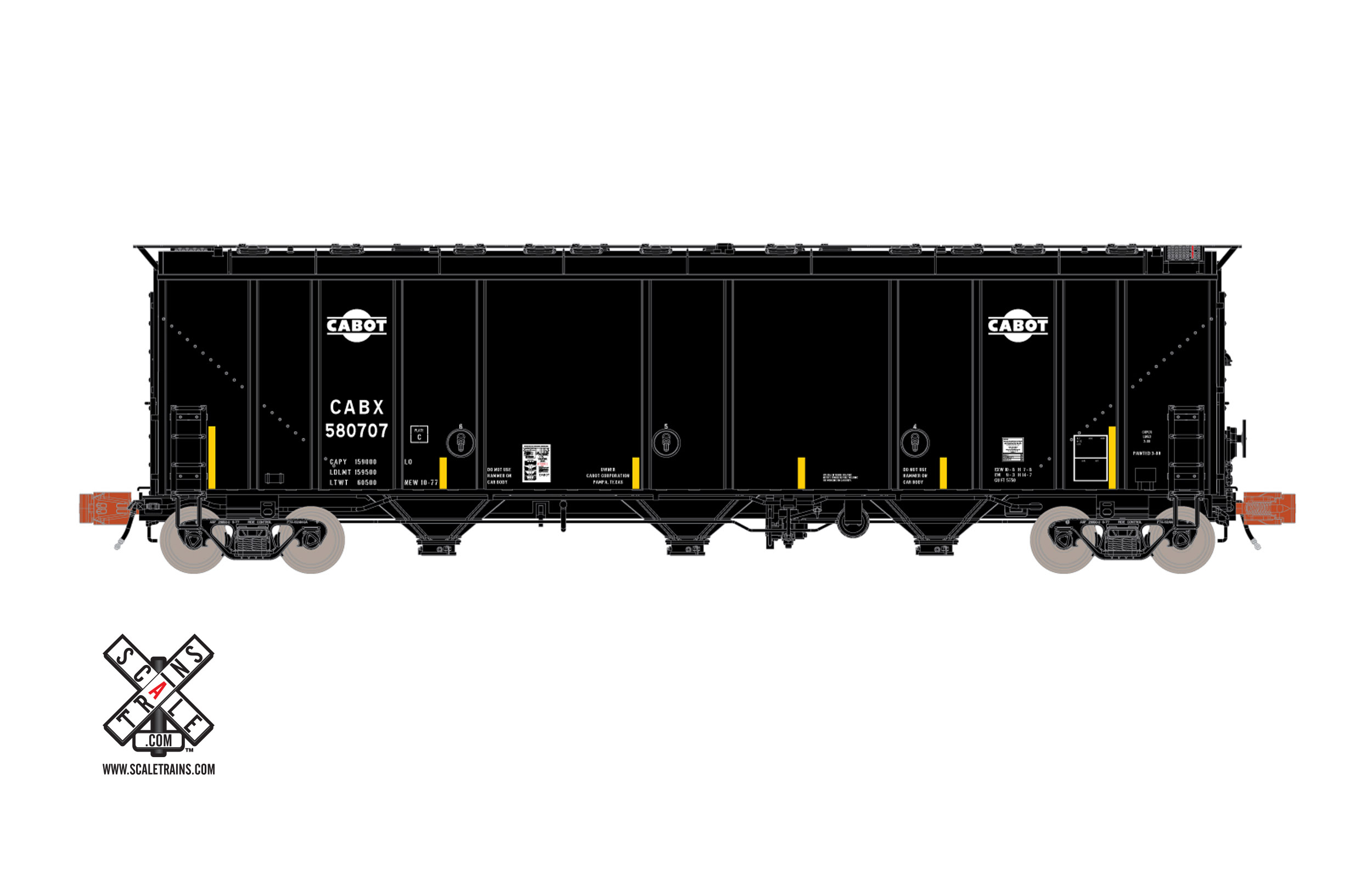 N Scale - ScaleTrains.com - STX30558 - Covered Hopper, 3-Bay, Thrall 5750 - Cabot - 580706