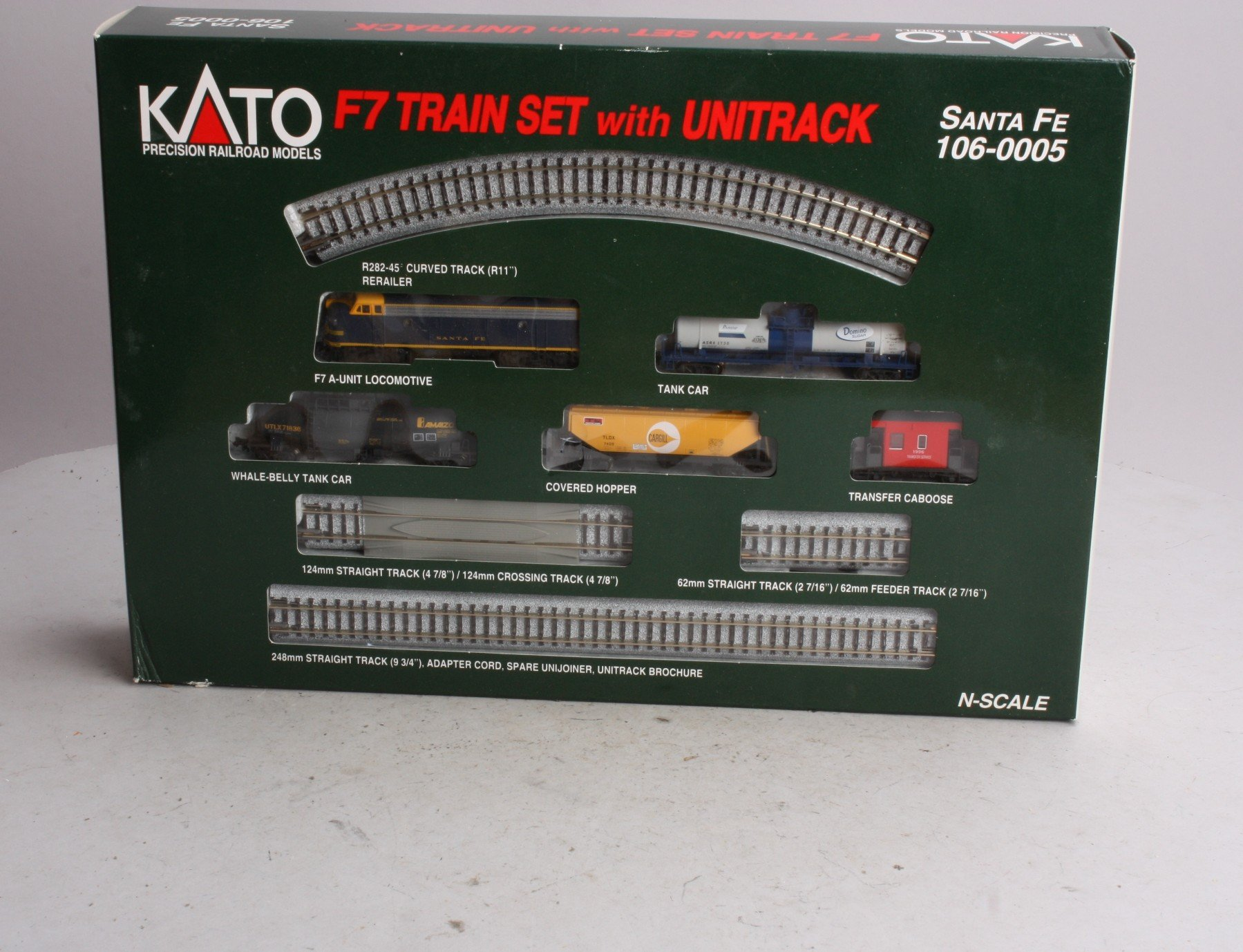 N Scale - Kato USA - 106-0005 - F7A and Mixed Freight Train - Santa Fe