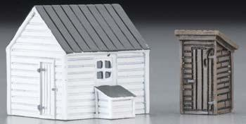 N Scale - IMEX - 6338 - Outhouse and Garage - Residential Structures