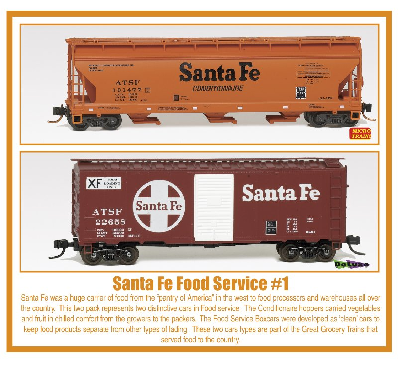 N Scale - Micro-Trains - NSC 07-80 - ACF Covered Hopper, 40 Foot Boxcar - Santa Fe - 2-Pack