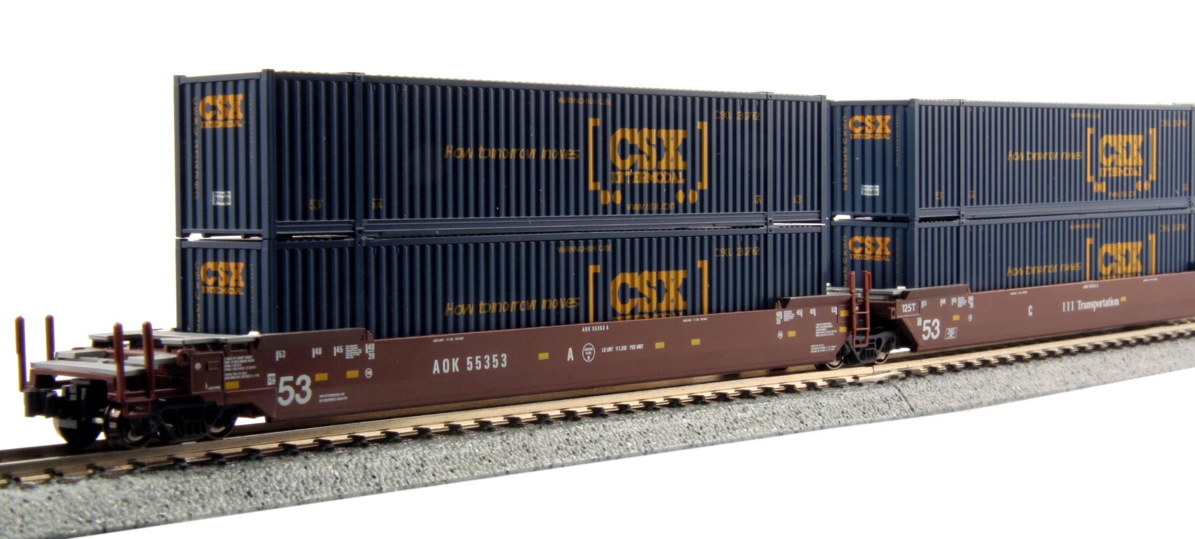 N Scale - Kato USA - 106-6169 - Container Car, Articulated Well, Maxi-IV - AOK Freight - 55353