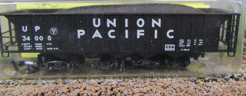 N Scale - Precision Masters - 1301-2-A - Open Hopper, 5-Bay Ortner Rapid Discharge - Union Pacific - 34000