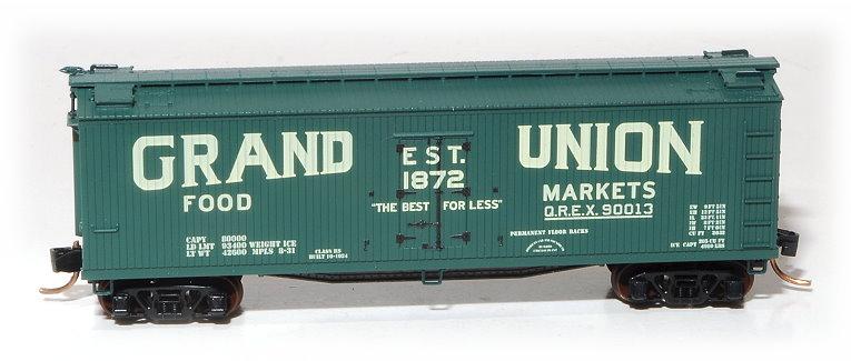 N Scale - Eastern Seaboard Models - 200803 - Reefer, Ice, 40 Foot, Wood - Grand Union Food Markets - 90013