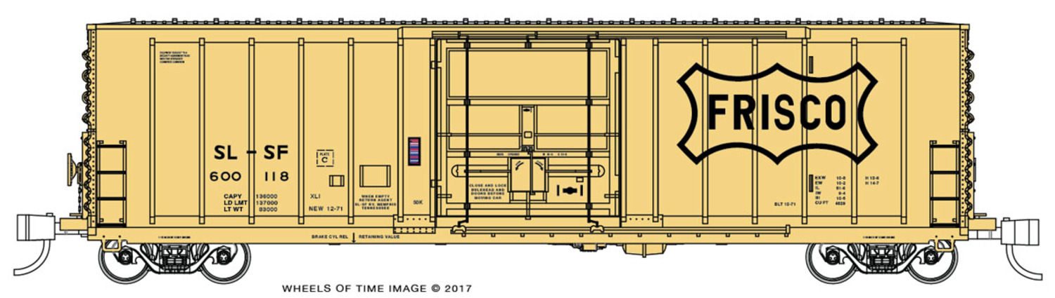 N Scale - Wheels of Time - 61130 - Boxcar, 50 Foot, PC&F Insulated - Frisco - 600124