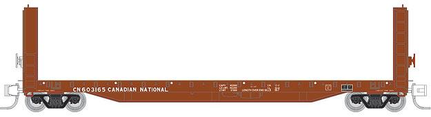 N Scale - Prairie Shadows - 4004 - Flatcar, 70-ton, Bulkhead - Canadian National - 603124