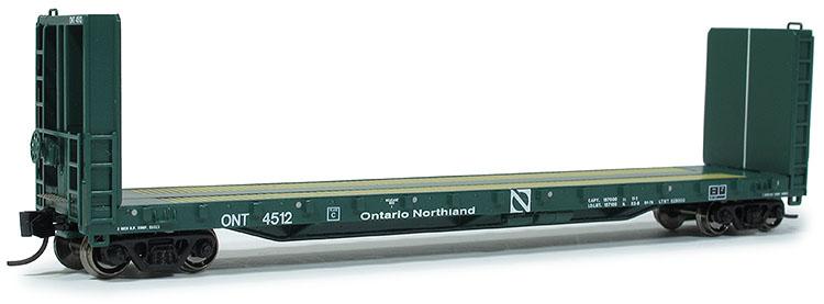 N Scale - Prairie Shadows - 4080 - Flatcar, 70-ton, Bulkhead - Ontario Northland - 4518