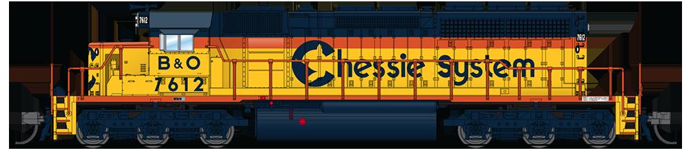 N Scale - Broadway Limited - 3705 - Locomotive, Diesel, EMD SD40-2 - Chessie System - 7601