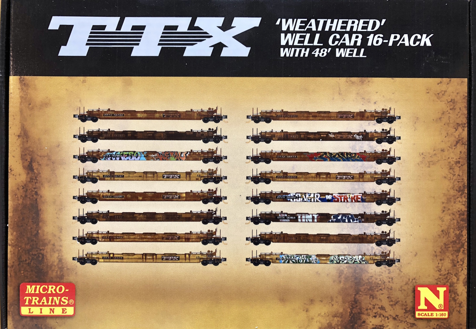 N Scale - Micro-Trains - 993 01 765 - Container Car, Single Well, Gunderson Husky Stack 48 - TTX Trailer Train - 16-Pack