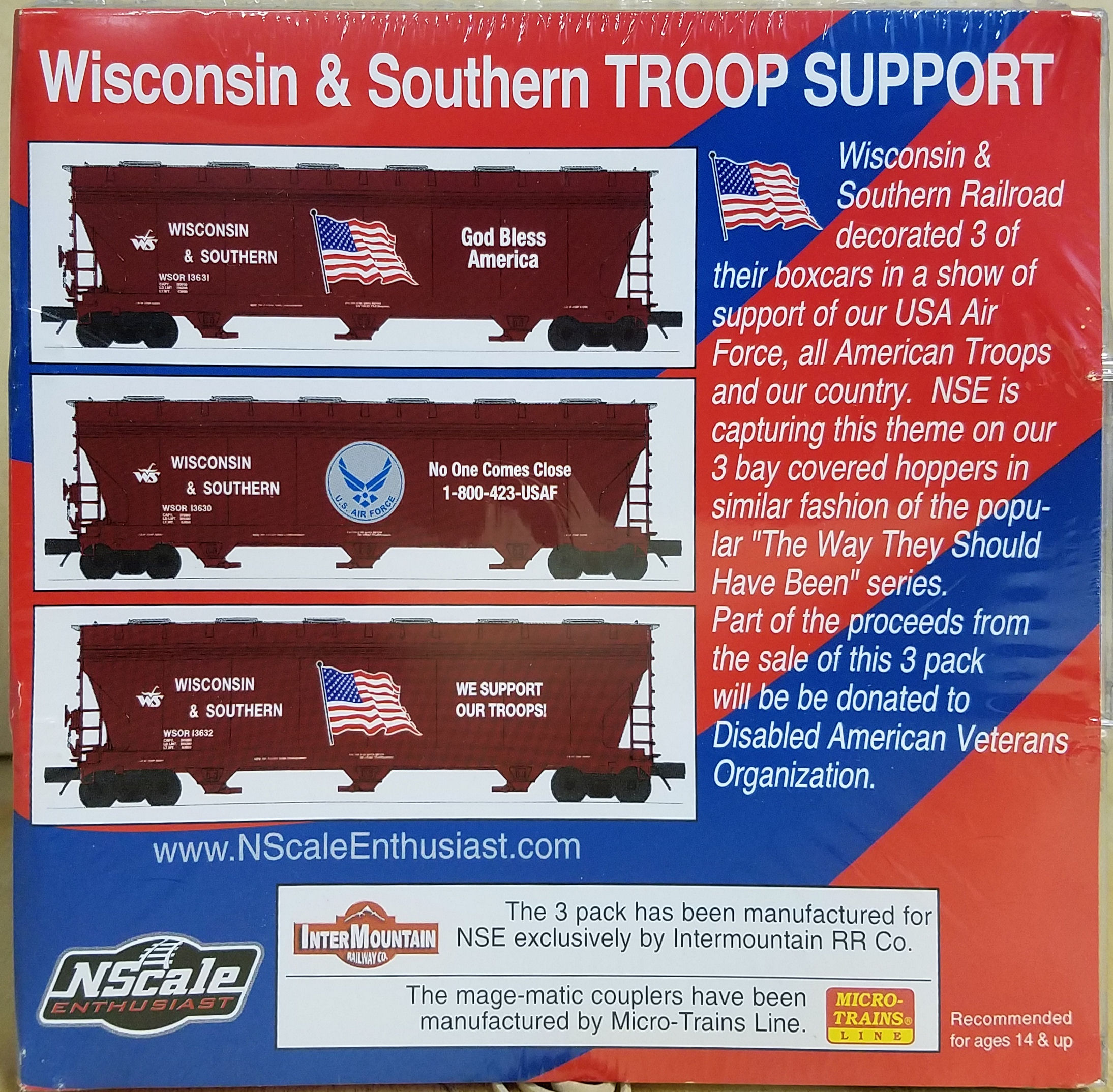 N Scale - InterMountain - NSE INT 13-59 - Covered Hopper, 3-Bay, ACF 4650 - Wisconsin & Southern - 3-Pack