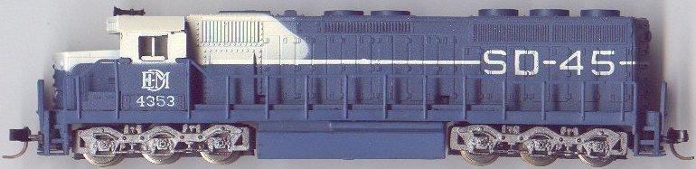 N Scale - Model Power - 7573 - Locomotive, Diesel, EMD SD45 - Electro Motive Diesel - 4353