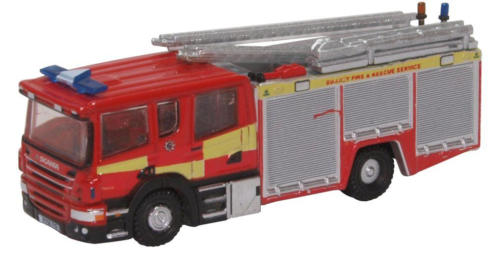 N Scale - Oxford Diecast - NSFE007 - Truck, Scania, Tractor-Trailer - Fire and Rescue - RX56 FXF